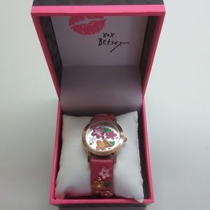 Betsey Johnson New Hot Pink Multi-Flower Watch